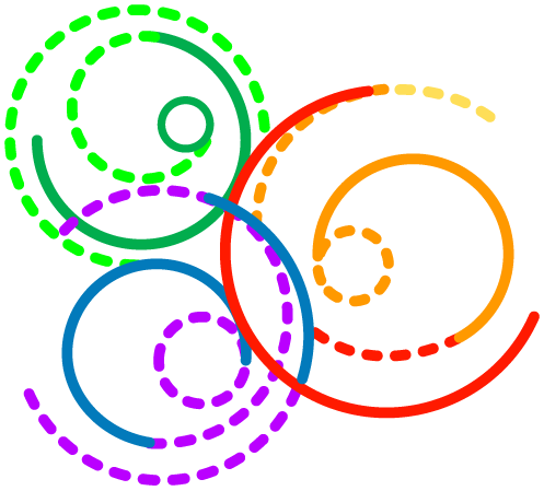 ODPC logo is made up of interlocking rainbow colored circles